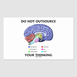 Do Not Outsource Your Thinking (Brain Anatomy) Rectangular Sticker