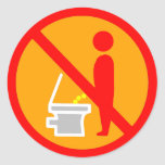 DO NOT PEE TOILET ROAD SIGN ROUND STICKERS