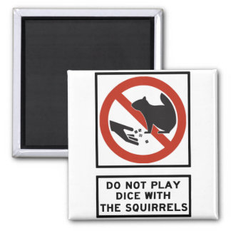 Do Not Play Dice with the Squirrels Highway Sign Magnet