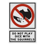 Do Not Play Dice with the Squirrels Highway Sign Poster