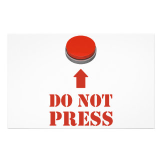 Do Not Press the Red Button Personalized Stationery