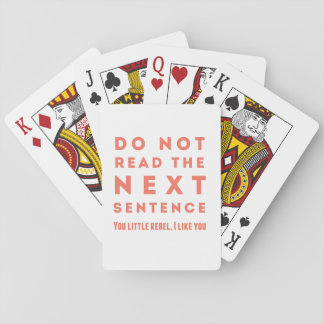 Do not read the next sentence card deck