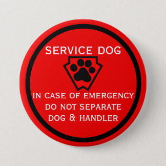 Do Not Separate Dog and Handler Black Paw Pinback Button