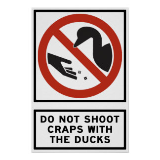 Do Not Shoot Craps with the Ducks Highway Sign Poster