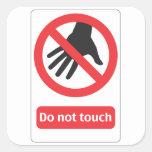 Do not touch escudo pegatina cuadrada