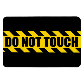 Do Not Touch Police Hazard Black Yellow Stripes Rectangular Magnets