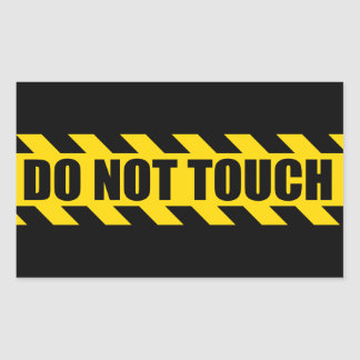 Do Not Touch Police Hazard Black Yellow Stripes Rectangular Sticker