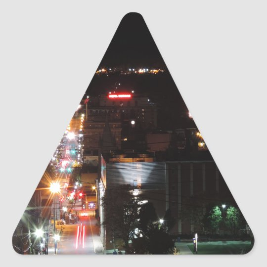 DO\owntown Morgantown at Night Triangle Sticker