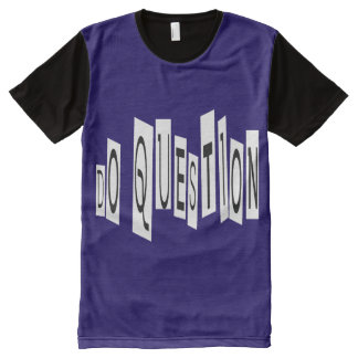 Do Question All-Over Printed Panel T-Shirt, L All-Over-Print Shirt
