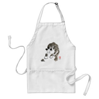 Do Snails Sting? Sumi-e kitten and snail Adult Apron