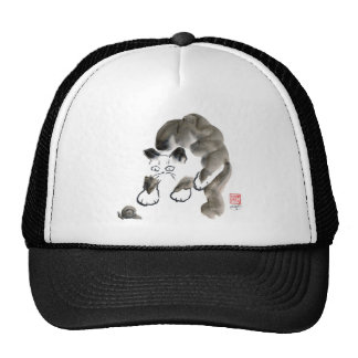 Do Snails Sting? Sumi-e kitten and snail Mesh Hats