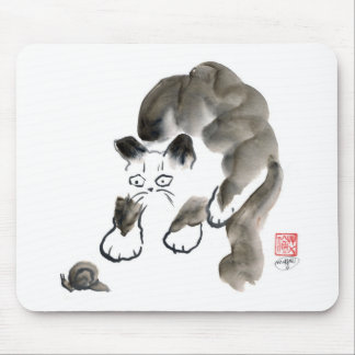 Do Snails Sting? Sumi-e kitten and snail Mouse Pad