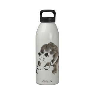 Do Snails Sting? Sumi-e kitten and snail Reusable Water Bottles