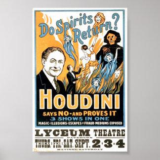 Do Spirits Return? Harry Houdini production ad Posters