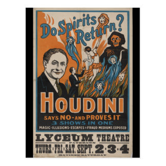 Do Spirits Return? Houdini Says No And Proves It Postcard