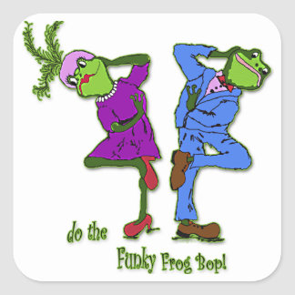 do the Funky Frog Bop! Square Sticker