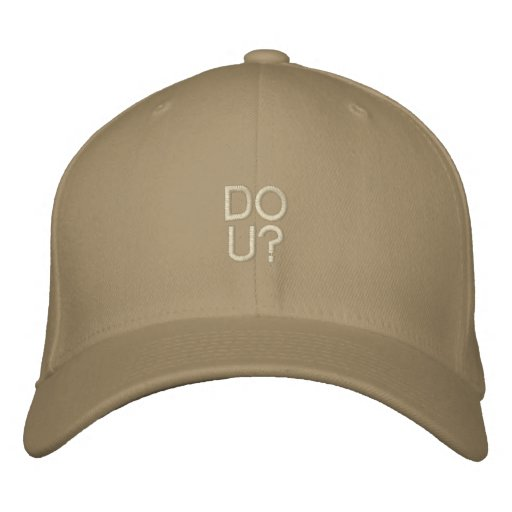 DO U? Destroyed Cap Template Embroidered Baseball Cap