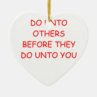 do unto others Double-Sided heart ceramic christmas ornament