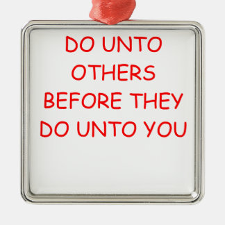 do unto others square metal christmas ornament