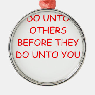 do unto others round metal christmas ornament