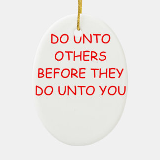 do unto others Double-Sided oval ceramic christmas ornament