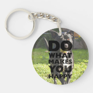 Do What Makes You Happy Labrador Playing With Ball Keychain