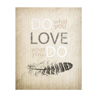 Do What You Love | Feather and inspirational Canvas Print