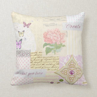 Do what you love - Girly Pink & Cream art pillow