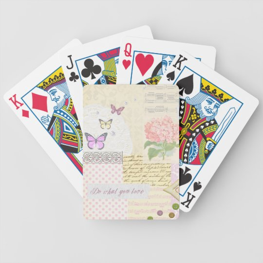 Do what you love - Girly Pink & Cream collage Bicycle Playing Cards