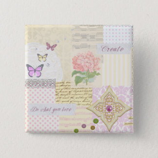 Do what you love - Girly Pink & Cream collage Button