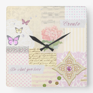 Do what you love - Girly Pink & Cream collage Square Wall Clocks