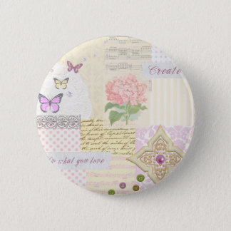 Do what you love - Girly Pink & Cream collage Pinback Button