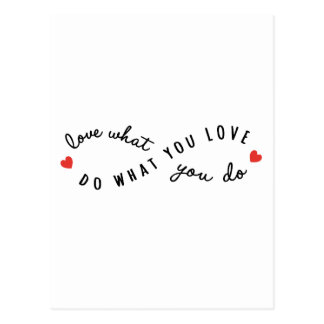 do what you love, inspirational word art postcard