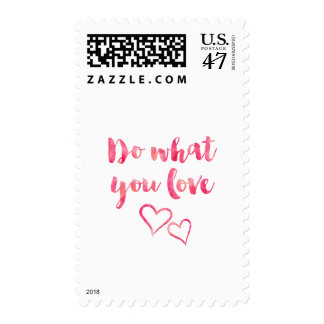 Do What You Love Pink Watercolor Quote Template Postage