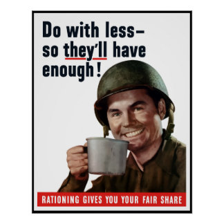 Do With Less So They'll Have Enough -- Border Poster