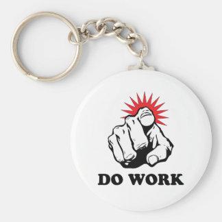 Do Work Basic Round Button Keychain