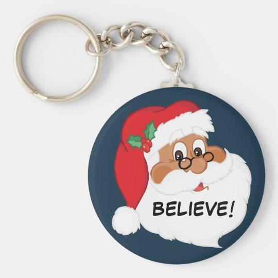 Do You Believe in Black Santa Claus? Keychain