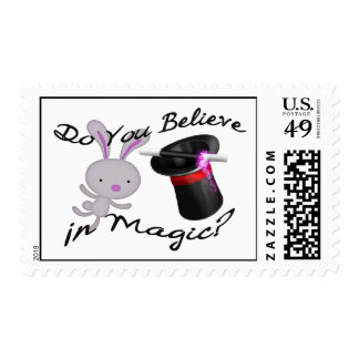 Do You Believe In Magic Top Hat & Rabbit Postage Stamp