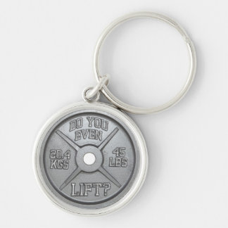 Do You Even Lift - Barbell Plate Silver-Colored Round Keychain