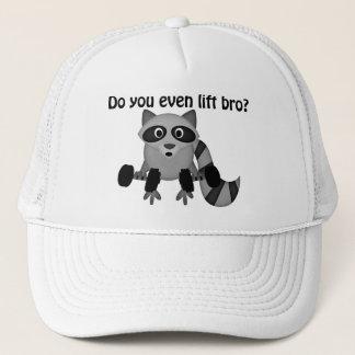 Do You Even Lift Bro Raccoon Trucker Hat