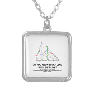 Do You Know Which Line Is Euler's Line? (Geometry) Silver Plated Necklace