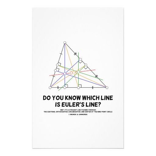 Do You Know Which Line Is Euler's Line? (Geometry) Stationery