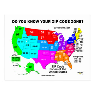 Do You Know Your Zip Code Zone US Map Postcards