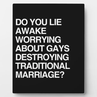DO YOU LIE AWAKE WORRYING ABOUT DESTROYING MARRIAG DISPLAY PLAQUE
