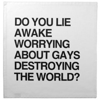 DO YOU LIE AWAKE WORRYING ABOUT GAYS CLOTH NAPKIN