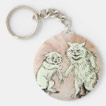 Do You Mind? Cat Artwork by Louis Wain Basic Round Button Keychain