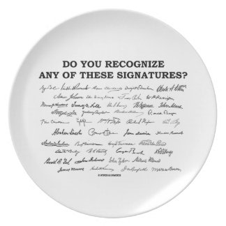 Do You Recognize Any Of These Signatures? Melamine Plate