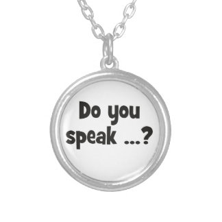 Do you speak ...? Basic black Silver Plated Necklace
