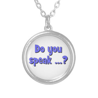 Do you speak ...? Basic blue Silver Plated Necklace