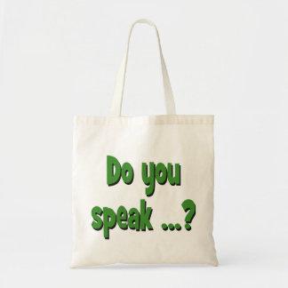 Do you speak ...? Basic green Tote Bag